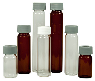 Precleaned vials and bottles with certificate of compliance for water and trace analysis