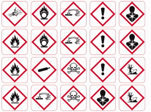 Varoitusmerkit GHS ,GHS hazardous substances labels .